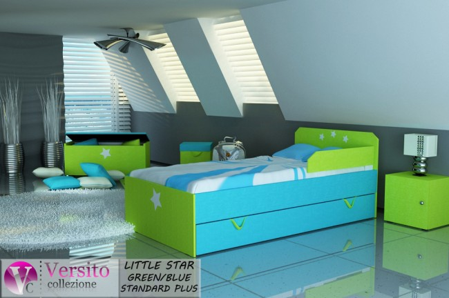 łóżko dziecięce LITTLE STAR GREEN-BLUE STANDARD PLUS