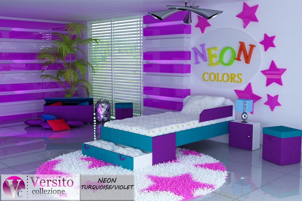 łóżko neon_turquoise-violet